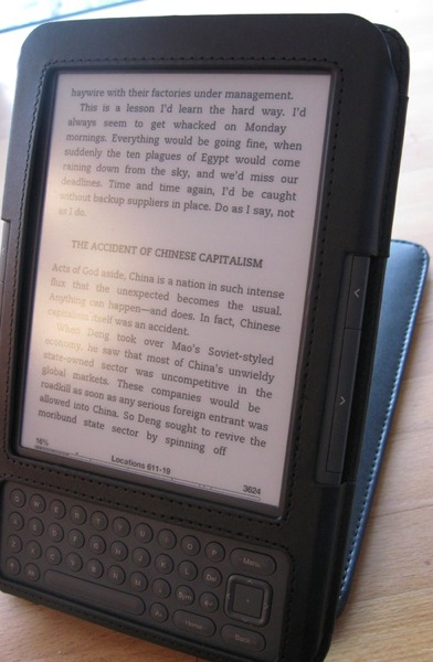 The kindle's screen, with some glare when shining a table lamp directly on it