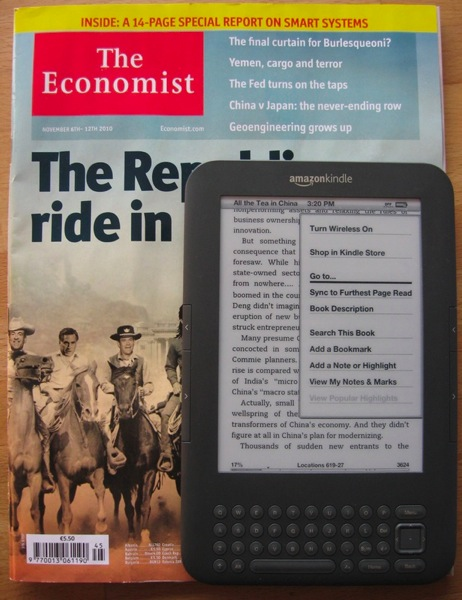 The kindle's size compared to a magazine