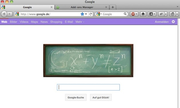 Google search page with pink top bar